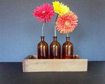 "Vintage (3) Brown Glass Clorox Bottles 7.50"" Tall Home Decor Decorative Repurpose"