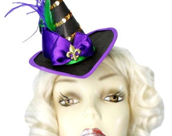 Mini Witch Hat Mardi Gras Fleur Gothic Victorian Steampunk Tea Party Fascinator Cocktail Tiny
