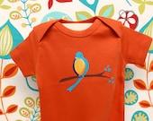 Gender Neutral Baby clothes /Organic Cotton/ Baby Bodysuit / blue bird