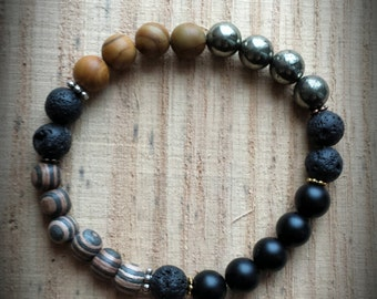 Lava Rock Gemstone Diffuser Bracelet - Stretch Bracelet