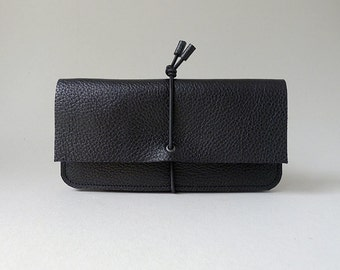 Wallet Medium - black leather & black elastic strap