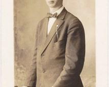 Handsome Harold- 1900s Antique Photograph- Beautiful Man- Edwardian Dandy- Monticello, Wisconsin- Real Photo Postcard- RPPC- Paper Ephemera
