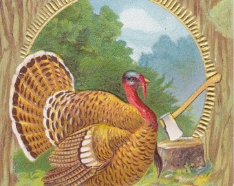 Thanksgiving Turkey- 1900s Antique Postcard- Holiday Art Card- Thanksgiving Decor- Seasonal Greeting- Paper Ephemera