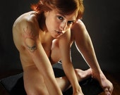 6016-AMS Flaming Death Head Tattoo on Nude Redhead Shoulder Facial Piercings Art Photograph print signed Chris Maher