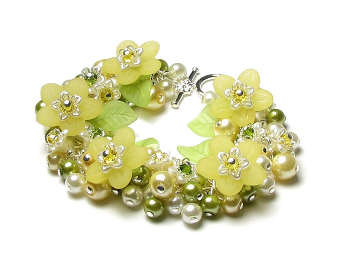 Yellow Honeysuckle Flower Swarovski Crystal Silver Charm Bracelet, Sweet Spring Floral Jewelry, Green Garden Leaves, Pretty Gift For Women