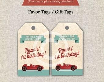 Retro Race Car Favor Tags   Vintage Race Car Thank You Tags   Race Car Gift Tags   Race Car Birthday Party   digital printable
