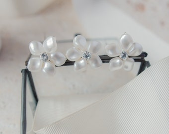 Pearl and Diamante Flower Hair Pins