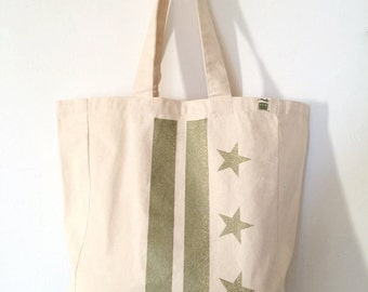 READY TO SHIP: Washington D.C. Flag Tote - Champagne Metallic (more colors avail)