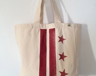 READY TO SHIP: Washington D.C. Flag Tote - Ruby (more colors avail)