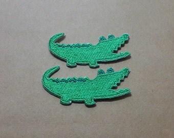 Set 2 pcs Little Crocodile Applique Embroidered Iron on Patch size 5 x 2.4 cm.