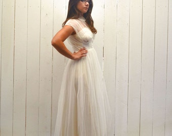 50s Tulle Wedding Dress Tea Length Vintage Mid Century Gown White Peter Pan Collar Extra Small XS