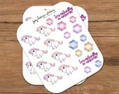 Cute stickers - PASTEL UNICORNS and GEMSTONES, perfect for your planner