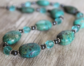 Turquoise, Hematite and Aqua Czech Glass Necklace and Earring Set / Turquoise Necklace / Gifts for Her / Gifts for Women / Chunky / Unique