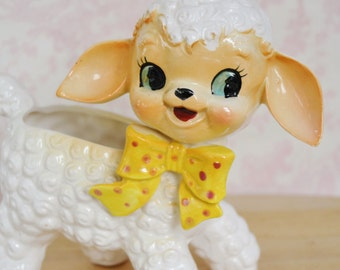 Vintage Lamb Planter with Smiling Face and Yellow Bow Tie