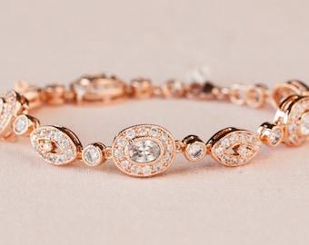Vintage style Bridal Bracelet, Rose Gold Wedding Bracelet, Swarovski, Bridal Jewelry. Wedding Jewellery, Christine Bridal Bracelet