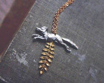 fox and fern. a whimsical forest-inspired dainty mixed metal necklace