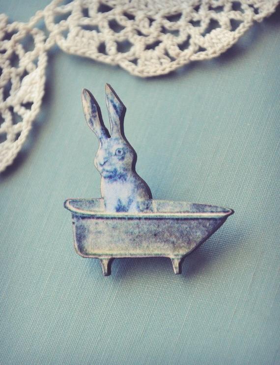 bunny in the bathtub brooch.