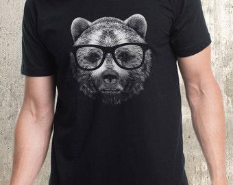Men's Wise Bear T-Shirt - Screen Printed Men's Shirt - Bear in Glasses