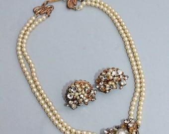STUNNING Vintage Robert Original Pearl & Earring Set,Matching Demi Parure,Hand Wired Pearl Rhinestone,Bridal,Pearl Choker,Filigree,Collector