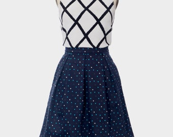 Spotty Skirt, Navy Skirt, Polkadot Skirt, Cotton Skirt, Pleated Skirt, Box Pleat Skirt, Skirt with Pockets, Full Skirt