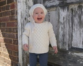 Cream/Ivory Slouch Hat & Boot Cuffs for Baby Toddler 12 months-2T, Ready-To-Ship