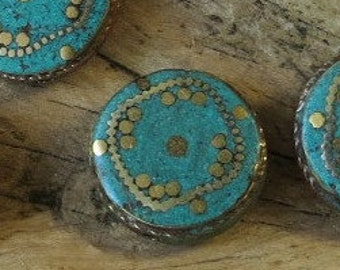 Turquoise, Brass Inlay - Nepalese Bead - 22mm Disc - Sold Individually
