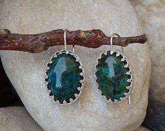 Eilat Stone Earrings. King Solomon Stone Earrings. Oval Green Gemstone Earrings. 925 Sterling Silver Earrings. Green Eilat Threader Earrings