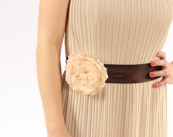 Brown Handcrafted Silk Bridal Belt With Large Blush Flower - Bride or Bridesmaid - Flower Embellishment Made in USA - 1000257