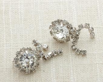 Vintage Silver Rhinestone Earrings Clip Ons Large Stone Dangle | Clip On Earings | Costume Jewelry | True Vintage 16A