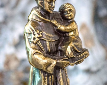 Antique FRENCH St Anthony and Christ Child Statue, Brass Spelter, From France, Marble Base