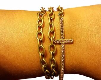 Cross chain wrap bracelet