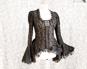 Victorian Steampunk lace blouse, black gothic shirt, Maeror, Somnia Romantica,size small - medium see item details for measurements