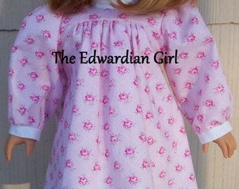 Flash Sale! Rose Edwardian day or play doll dress. Fits 18 inch play dolls such as American Girl, Springfield, OG. Made in USA