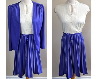 Vintage Small/Medium 1970s Purple and White Secretary Dress with Matching Jacket // Lace and Buttons // Office Wear // 2 Piece Set