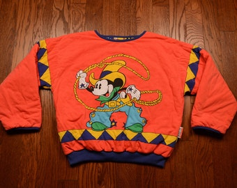 vintage 80s Mickey Mouse jacket reversible Disney bomber puffer coat Mickey Co JG Hook cowboy sheriff western 1980 XL one size