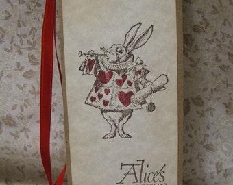 Alice in Wonderland Bookmark - White Rabbit - vintage style, shabby chic style hang tag, ephemera, bunny, parchment, sparkle