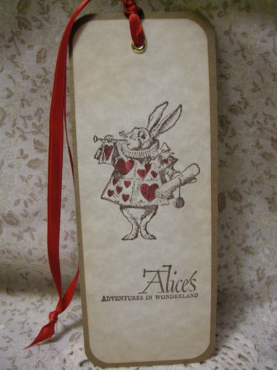 Alice in Wonderland Bookmark - White Rabbit - vintage style, shabby chic style hang tag, ephemera, bunny, parchment, sparkle