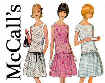 Gatsby Style Dress 1960s Dropped waist Gathered Skirt Size 12 Bust 32 Adorable 60s Long Waist Dress McCalls 8241 Vintage Sewing Pattern