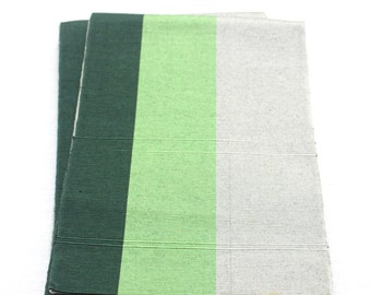 Japanese Obi. Striped Woven Silk Textile. Green Gray Mint Shades (Ref: 1569)