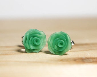 Polymer Clay Roses - Sterling Silver Post earrings