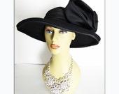 Oscar de la Renta Hat//Vintage Hat//Couture//Black//Designer Hat//Black//Designer Hat
