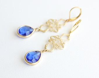 Gold Filigree Dangle Earrings Gold Earrings Dangle Bridal Earrings Wedding Earrings Bridesmaid Earrings Sapphire Leverback Earrings Gift