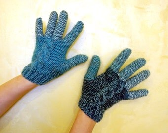 Handcrafted knitted 100% kashmir wool cabled gloves with aran in light blue, dark blue, white and turquoise for ladies