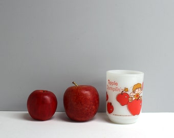 Vintage 1980 Apple Dumplin' Anchor Hocking mug - milk glass with printed image - American Greetings - Strawberry Shortcake's pal