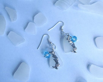 Mermaid Earrings - Beach glass earings - Seaglass jewelry - Mermaid Jewelry - Sea glass earrings.