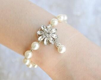Pearl Bridal Bracelet, Vintage Style Wedding Bracelet, Crystal Flower Filigree Bracelet, Swarovski Pearl Bracelet, Old Hollywood, ALLIE