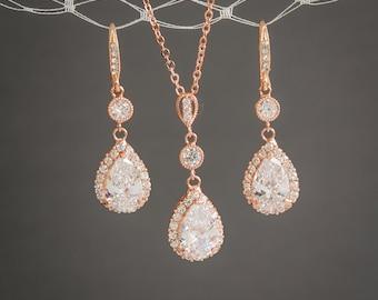 Rose Gold Jewelry SET, Bridal Jewelry Set, Teardrop Dangle Earrings, Sterling Silver Pendant Necklace, Vintage Style Wedding Jewelry,LILIANA