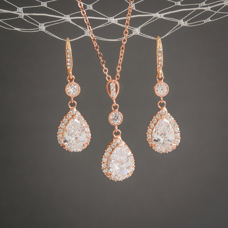 rose gold jewelry set bridal jewelry set teardrop dangle. Black Bedroom Furniture Sets. Home Design Ideas
