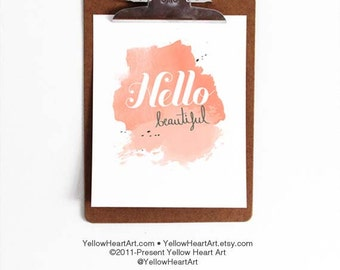 "Graphic Typography Print ""Hello Beautiful"" in Peach, Blush and Gray Watercolor - by Yellow Heart Art"