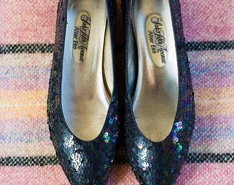 Vintage 90s Black Rainbow SEQUINS Saks Fifth Avenue Alter Ego Low Heel SHOES Size 9